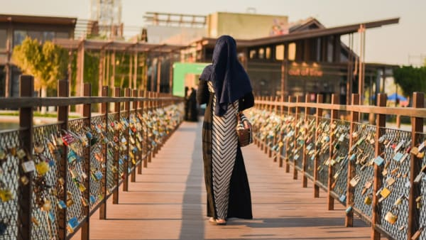 Woman wearing hijab walking away with back turned